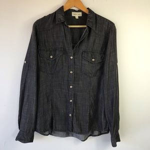 Cloth & Stone Button Front Shirt Tencel Gray